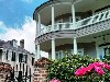 Charleston home with bright pink flowers